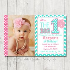 Aqua and Pink Chevron Girl First Birthday by printablecandee, $10.00 for file