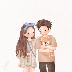Cute Girl Illustration, Family Illustration, Character Illustration, Kawaii Drawings, Cartoon Drawings, Cute Drawings, Cute Love Cartoons, Cute Cartoon, Art Vintage