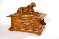 circa 1870 Linden black forest carved wood hunt box