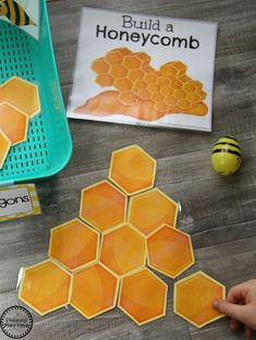 Build a Honeycomb with Shapes - Preschool Dramatic Play Activity Montessori Dramatic Play Bees Preschool Centers, Preschool Science, Preschool Crafts, Preschool Classroom, Preschool Bug Theme, Preschool Shapes, Preschool Garden, Bee Activities, Spring Activities