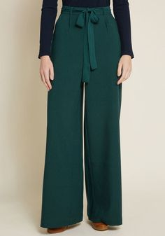d297574e5e5 The Savannah Pant in Hunter Green in M - Wide Pant Long by ModCloth Hunter  Green
