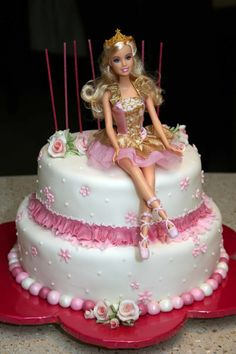 Barbie Ballet cake - This pretty cake was a white chocolate & raspberry cake wit. Barbie Ballet cake – This pretty cake was a white chocolate & raspberry cake with vanilla bean bu Barbie Birthday Cake, Happy Birthday Cakes, Birthday Cake Girls, Birthday Cupcakes, Birthday Cake With Candles, Birthday Kids, Barbie Torte, Bolo Barbie, Barbie Doll