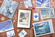 """Chiona Snowy Set by artabramova on @creativemarket I'm glad to present you my new watercolor winter set. It is called """"Chione"""" like the ancient Greek goddess of the winter. In this set you can find some cold, icy landscapes, snowy illustrations, christmas symbols, beautiful snowflakes and several seamless patterns. It can help you in your winter theme designs!"""