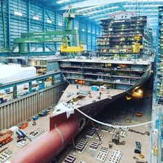 Cruise ship under construction #howitsmade #engineer #engineering #caribbean #cruise #cruises #architecture