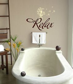 Relax and dandelion Vinyl lettering wall  bathroom words decals quotes home