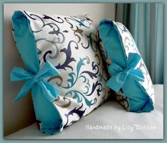 """Contrast Tied Cushion Cover  note: possibly buy this pattern if I can't find a """"free"""" one."""