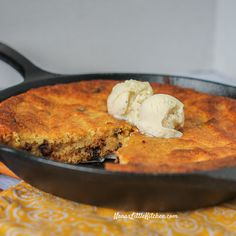This Sugar Free Chocolate Chip Skillet Cake is a rich tasting, low carb, sugar free, cake that is just indescribably good.
