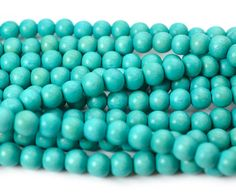 Turquoise wooden   Beads, 8mm, Round Wood Beads,  2mm Hole,   55 pc  Strand
