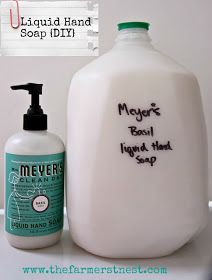 The Farmers Nest: How to Make Liquid Hand Soap from a bar of soap {DIY} - Also has recipes for homemade laundry detergent with information on correct preservatives so it doesn't turn moldy (a batch can last you over a YEAR!)