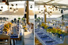 brazilian wedding mykonos-blue and yellow wedding decoration 17 Santorini Wedding, Greece Wedding, Brazilian Wedding, Mykonos Blue, Mykonos Island, Cruise Wedding, Sunset Wedding, Yellow Wedding, Hanging Lanterns