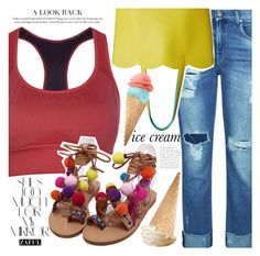 """Pompon sandals"" by vanjazivadinovic ❤ liked on Polyvore featuring 7 For All Mankind, Rika, Deux Lux, polyvoreeditorial and zaful"