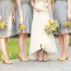 gray bridesmaid dresses with yellow  shoes