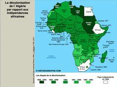 Carte de la décolonisation de l'Afrique. Source: © HISTGEOGRAPHIE.COM