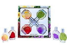 ALOHA BEAUTY PERFUME (EAU DE PARFUM) SAMPLER -MADE IN HAWAII Contains four .5 oz bottles. One each of Hawaiian Plumeria, Red Hibiscus, Island Bougainvillea, and Tropical Gardenia.  Read more http://cosmeticcastle.net/fragrance/aloha-beauty-perfume-eau-de-parfum-sampler-made-in-hawaii  Visit http://cosmeticcastle.net to read cosmetic reviews