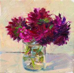 """Dahlias and Dianthus,still life,oil on canvas,6x6,price$200"" - Original Fine Art for Sale - ©Joy Olney"