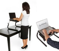 FitDesk: A portable, height adjustable desk for standing or sitting with supportive massage rollers under your forearms and a hand exerciser to relieve typing strain. #Computer_Desk