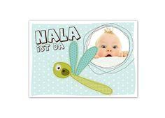 """Baby & Geburt - Karte zur Geburt """"Libelle"""" - ein Designerstück von Wdrei10 bei DaWanda"""