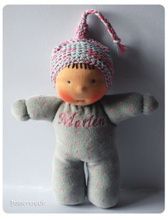 Love this color-combo (pink & gray) Marlene, waldorf inspired fabric doll by Immertreu®