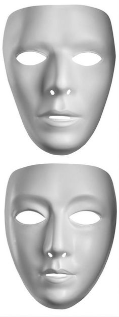 Blank White Face Mask - Man or Woman - Candy Apple Costumes - Masks