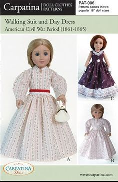 """Amazon.com: Pattern for Civil War Period - fits 18"""" American Girl Dolls: Toys & Games"""