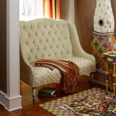 MacKenzie-Childs - Parchment Check Underpinnings Banquette