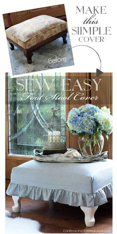 How to easily make a foot stool cover from Confessions of a Serial…