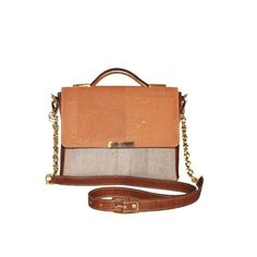 Cork Satchel Bag in Orange and Beige with chain - Beyond Bags Nautical Colors, Satchel Bag, Line Design, Gold Chains, Color Combinations, Cork, Dust Bag, Shoulder Strap, Casual Outfits