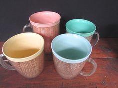 Raffiaware Plastic Coffee Cups Vintage Kitsch Mid Century