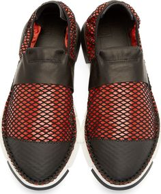 Cinzia Araia - Red Mesh Slip-On Shoes