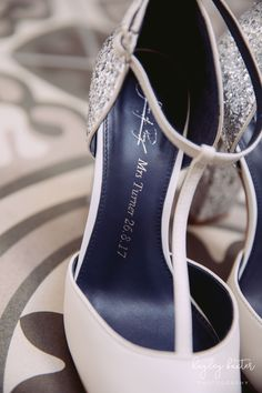 Add details like your anniversary or names to create a custom bridal shoe. Photo by Hayley Baxter Photography.. #shoesofprey