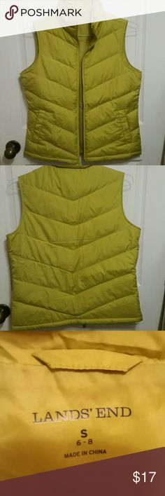Women's Land's End Down Vest Women's Land's End Down Vest  Brilliant Lime Green Size Small 80% down  20% feathers  Fit is more like a medium which is why I am selling Beautiful Has Pockets  GUC Very warm Lands' End Jackets & Coats Vests