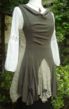 Upcycled Tunic Top. Appliqué Cotton Inserts with Large Button Detail. khaki knitted Sewing idea