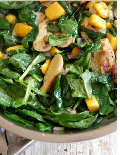 Chicken with WIlted Spinach and Mango (Gluten Free) Build your dream body...one meal at a time! Super easy and healthy! Yum!!! :)