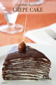 Chocolate Hazelnut Crepe Cake Chocolate and hazelnut are a match made in heaven. If you love this pair up, this delicate and spongy chocolate hazelnut crepe cake is for you! Köstliche Desserts, Delicious Desserts, Dessert Recipes, Yummy Food, Chocolate Crepes, Chocolate Hazelnut, Cupcakes, Cupcake Cakes, Crepe Cake