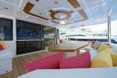 Nomad 75 cockpit seating area. Visit gulfcraftinc.com for more information.