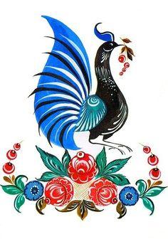 Floral pattern and a bird. Russian Love, Russian Folk Art, Pheasant, Handicraft, Traditional, Bird, Floral, Artist, Pattern