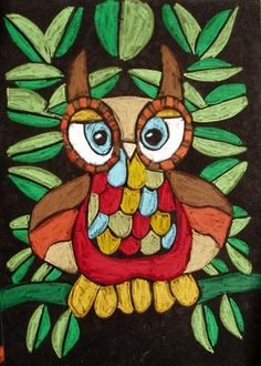 "Artsonia Art Museum :: ""Oil Pastel Owl on Velvet Paper"" by Reggie35"