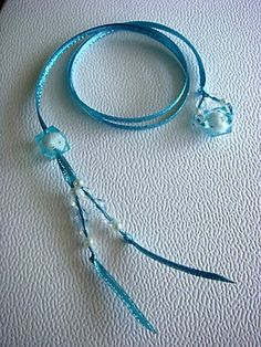 Soft blue Double duty beaded bookmark