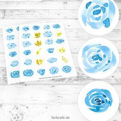 Aquarell Rosen Sticker-Bögen Blüten 24 Motive Blumen von FarbCafe