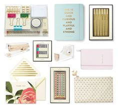 """""""Kate Spade stationary"""" by alicehorner ❤ liked on Polyvore featuring interior, interiors, interior design, home, home decor, interior decorating, Kate Spade, gold and katespade"""