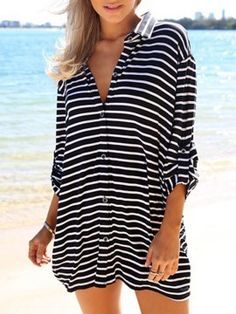 3e07feb424a0 Monochrome Stripes Oversize Chiffon Shirt Preto E Branco, Listras, Trajes  Com Camisa Longa,