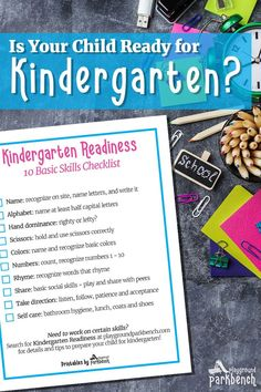 How do you know if your child is ready for kindergarten? The printable Kindergarten Readiness Checklist for Parents, outlined by a 30 year veteran kindergarten teacher, is here to be your guide. Assess your child's readiness, and prepare them to excel thr Kindergarten Checklist, Preschool Schedule, Kindergarten Readiness, Preschool At Home, Preschool Curriculum, School Readiness, Preschool Kindergarten, Preschool Activities, Homeschooling