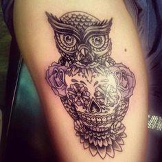 Owl and sugar skull tattoo design