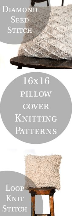 Lighthearted 16x16 Pillow Knitting Patterns. 2 patterns in 1 + video tutorials.