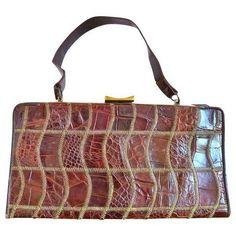 Vintage 1940s Deitsch Handbag ($275) ❤ liked on Polyvore featuring bags, handbags, white handbags, white purse, distressed leather handbag, genuine leather handbags and vintage alligator handbag