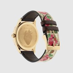 Gucci G-Timeless Blooms Leather Watch, Gold/Beige Gold Watches Women, Watches For Men, Women's Watches, Gold And Silver Watch, Gucci Watch, Mens Gift Sets, Calf Leather, Beige, Fine Jewelry