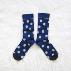 Chaussettes Bonne Maison / Bonne Maison socks - Pois Gris fond Bleu
