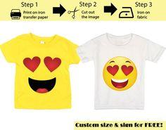 Printable Emoji T-shirt / Heart Eyes Emoji Iron on transfer Emoji Birthday Shirt, Emoji Shirt, Birthday Shirts, Iron On Transfer, Transfer Paper, Iron On Fabric, Eyes Emoji, Smile Design, Yellow Shirts