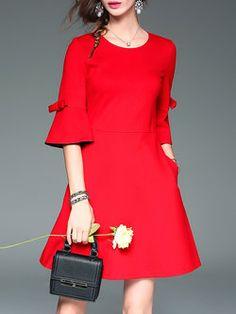 Red Plain Bell Sleeve A-line Mini Dress