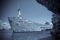 """Enzo's wreck: Hauntingly beautiful """"monochrome / selenium tone version of this wonderful wreck on the island of Amorgos in the Greek Cyclades."""""""